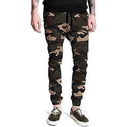 Italy Morn Harem Pantalones De Hombre Deporte Chinos Cargo Pantalon Skinny Joggers Casual Algodon (L(Size34), Verde Marrón Camuflaje)