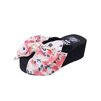 Zhenfu Femmes Printemps Été Sandales Confort Pu Sportswear En Forme De Bowknot Ruby Perle