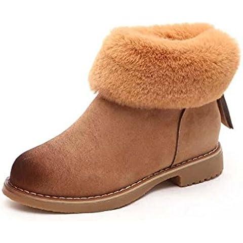 SHIXR Inverno nuova Europa Ladies neve stivali donna, Chao fan in Inghilterra coniglio pelliccia e lana-isolato stivali tondo testa, spesso e corto stivali , khaki , 38