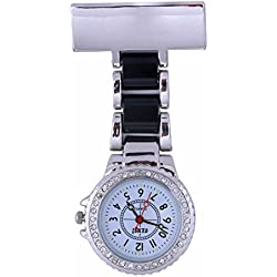 Censi Unisex Silver Diamante Bezel Black Strap Nurse Tunic Brooch FOB Watch Analog Japanese Quartz Extra Battery