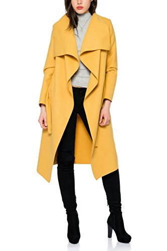 Kendindza Damen Mantel Trenchcoat mit Gürtel OneSize Lang und Kurz (One Size, Senf Lang)