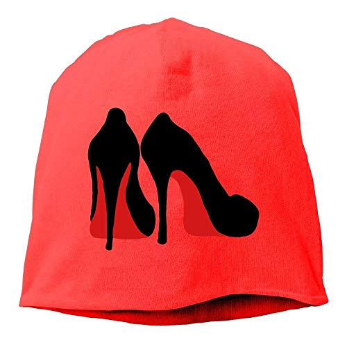 DIMAA Womens Knit Skull Beanie Hat Black High Heel Shoe Warm Casual Watch Cap