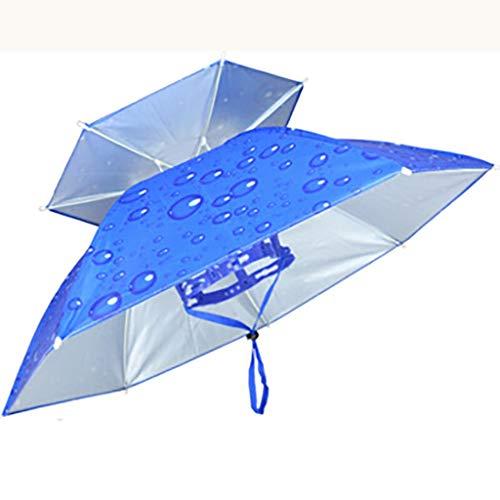 YXWzys Golfschirme Outdoor-Sonnenschirm Sonnenschutzschirm mit Ventilator Doppel großen Faser Regenschirm Angeln Schirmmütze Kopf Regenschirm Taschenschirm Kappe Regenschirm Falten (Color : C)