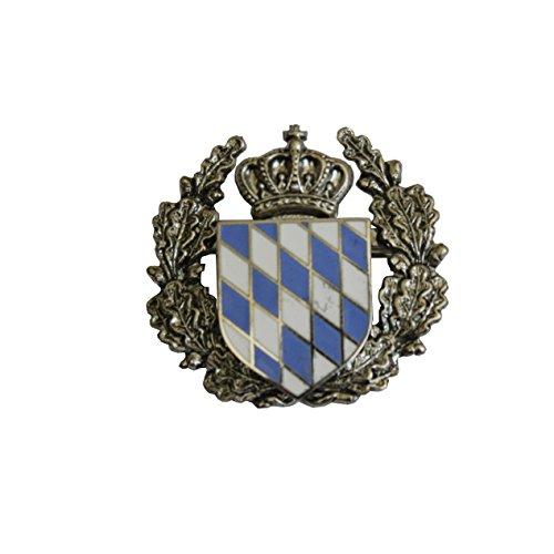Hutanstecker | Hutabzeichen | Hutschmuck | Trachten-Anstecker - Bayrisches Wappen - 3 x 3 cm - Einsatz mit Ehrenkranz