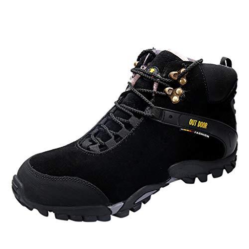 HDUFGJ Herren Hohe Hilfe Trekking- & Wanderhalbschuhe Schneeschuhe Plus Samt Outdoor-Schuhe rutschfeste Wasserdicht Verschleißfest Freizeitschuhe Flache Schuhe Wanderschuhe40 EU(Schwarz)