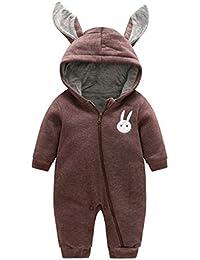 Bebé Niños Niñas de Invierno Ropa - Mxssi Mameluco de animales Baby Romper de una pieza recién nacido cálidos Conejo de una pieza Trajes de negro blanco 66cm 73cm 80cm 90cm