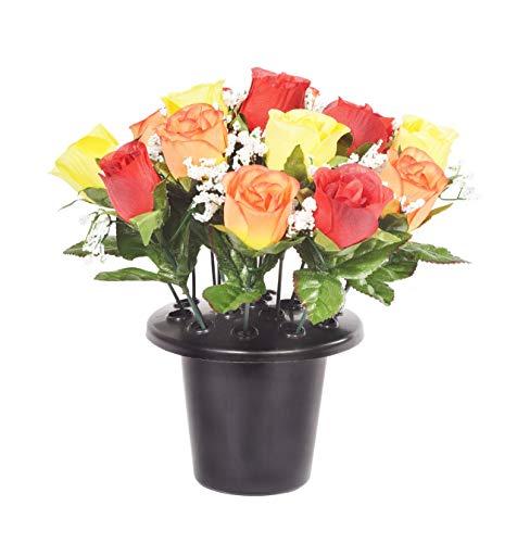 Fleurs artificielles orange/jaune pour mémorial, pot de fleurs avec 16fleurs