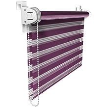 Victoria M Duo Klemmfix - Estor doble (fijación sin perforar), color púrpura, tamaño 95 x 150 cm