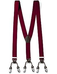 FydRise - Vintage 6 Pinces Bretelle Y Entièrement élastique - Large 3.5cm Longueur 120cm - Dos en Cuir Marron Cadeau Coffret pour Homme