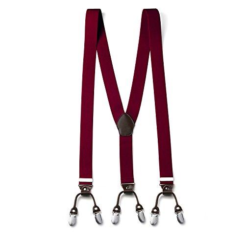 FydRise Retro Hombres Tirantes Caballero Elasticos Forma Y Extra Fuerte 6 Pinzas Ajustable 3.5 * 120cm Clip-on Suspenders para Pantalones Burdeos