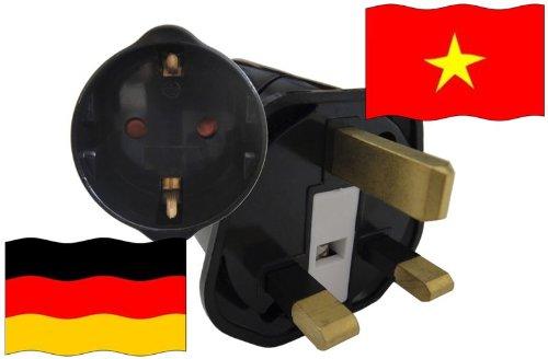 Urlaubs Reiseadapter Vietnam für Geräte aus Deutschland Kindersicherung und Schutzkontakt 250V