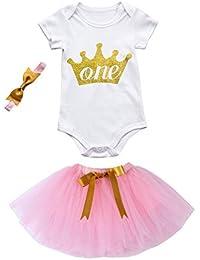 Ropa de bebé BBsmile 3 piezas de fiesta de cumpleaños de las niñas bebé ropa mameluco