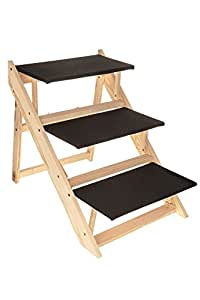 Petlicity ® Portable Wooden Sturdy Wood Construction 2-In-1 Pet Folding Dog Cat 3 Ramp Steps Stairs Ladder Travel - Suitable For Large and Small Dogs, Cats and Other Pets Large or Small ( No assembly required )