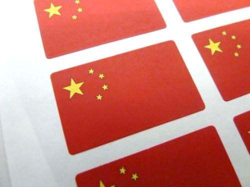 Paquete de 60 , 33x20mm , China Auto-adherente Bandera Pegatinas , Chino autoadhesivo Bandera Etiquetas