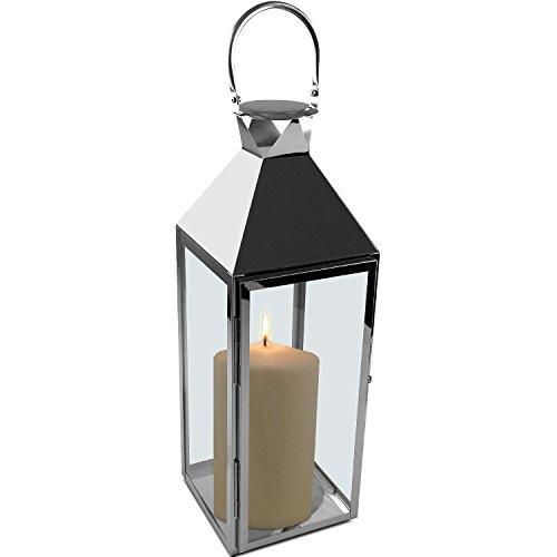Edelstahl Laterne 54x18x18cm Windlicht mit Echtglasscheiben Edelstahlkorpus mit Henkel