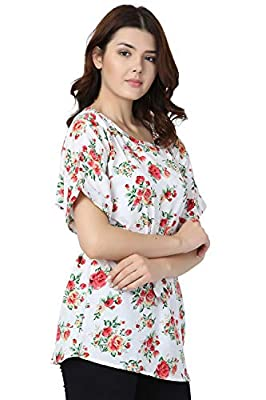 Modish Vogue Women's Floral/Printed White Colored Top