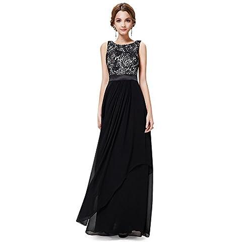 WintCO Damen Elegantes Langes Abendkleid Rueckenfreie Maxikleid Bodenlang Partykleid Cocktailkleid (M, schwarz)