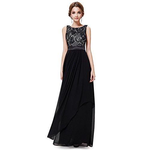WintCO Damen Elegantes Langes Abendkleid Rueckenfreie Maxikleid Bodenlang Partykleid Cocktailkleid (S, schwarz)