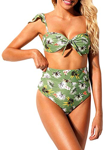 Floral Ruffle Halfter (JSUMING Bikini Badeanzug für Frauen, Sling Ruffle Floral Punktdruck Hohe Taille Halfter Bandage Bikini 2 Stück Badeanzüge,Green,M)