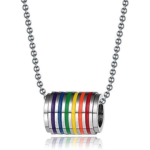 LianDuo Collana con pendente in acciaio inox Gay Lesbiche LGBT Tunnel fascino Arcobaleno Orgoglio aggancio di cerimonia nuziale,la catena