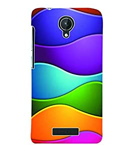 Fuson 3D Printed Coloured Pattern Designer Back Case Cover for Micromax Canvas Spark Q380 - D983