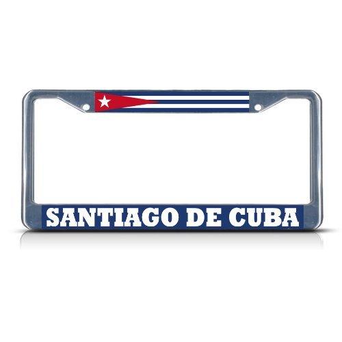 Preisvergleich Produktbild B.Fighting Cuba Santiago DE Cuba Autokennzeichenrahmen für Damen,  verchromt,  Schwarz