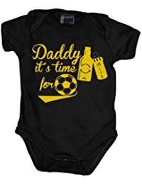 Daddy it´s time for soccer - cheers Babybody kurzarm gelb-print