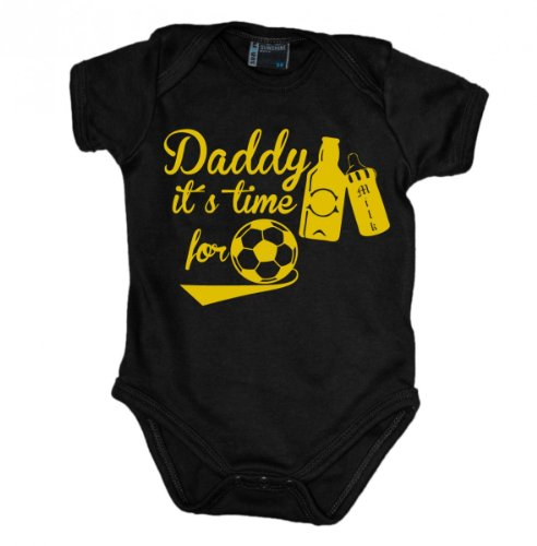 daddy-its-time-for-soccer-cheers-babybody-kurzarm-gelb-print-grosse74farbeschwarz
