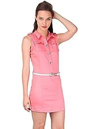 Denim Slim Fit Day Dress- Pink