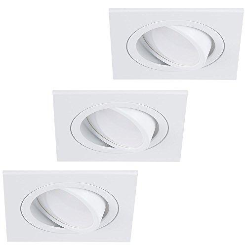 Decken-Einbaustrahler 3er Set   Einbauleuchten LED 7W   Deckenstrahler weiß eckig   Einbauspot flach   Einbaulampen schwenkbar   Deckenspot modern   Spots + LED-Leuchtmittel
