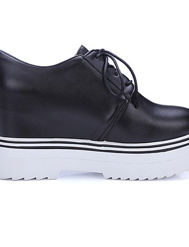 ZQ hug Scarpe Donna-Scarpe col tacco-Casual-Zeppe-Zeppa-Finta pelle-Nero / Bianco , black-us8.5 / eu39 / uk6.5 / cn40 , black-us8.5 / eu39 / uk6.5 / cn40 black-us10.5 / eu42 / uk8.5 / cn43