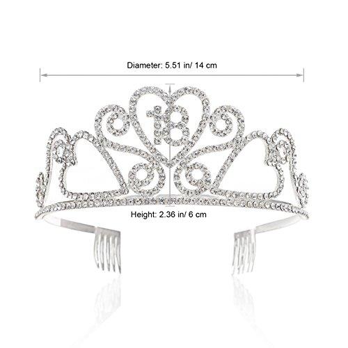 SWEETV Espumoso Quinceanera Aniversario Cumpleaños Tiara Diadema Rhinestone Fiesta Corona, 18 Dieciséis