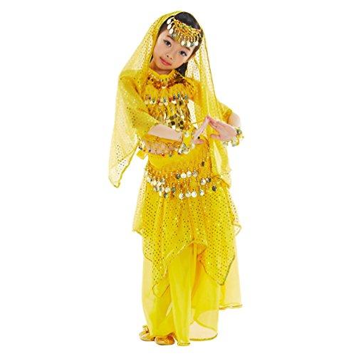 (Xinwcang Kinder Mädchen Bauchtanz Outfit Kostüm Dance Kleidung Top + Rock Lang Halloween Karneval Darbietungen Set Gelb (7PC) M)