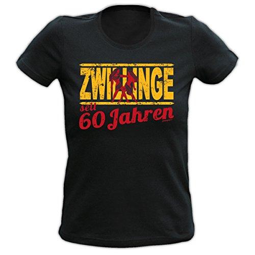 Lustiges Damen T-Shirt zum 60.Geburtstag : 60 Jahre Zwillinge Sternzeichen T-Shirt Geburtstag --Goodman Design® Schwarz