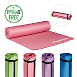 Relaxdays Yogamatte gepolstert, 1 cm dicke Übungsmatte, Für Pilates, Aerobic, Gymnastik, HBT: 1 x 61,5 x 182 cm, pink