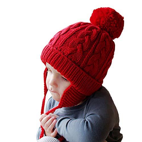 Berrose-Kind Haarballen Stricken Ohrenschützer-schlauchschal kinder strickmütze halstücher kindermütze winter loop schal skimütze schirmmütze kindermützen jungen strickmützen sommermütze