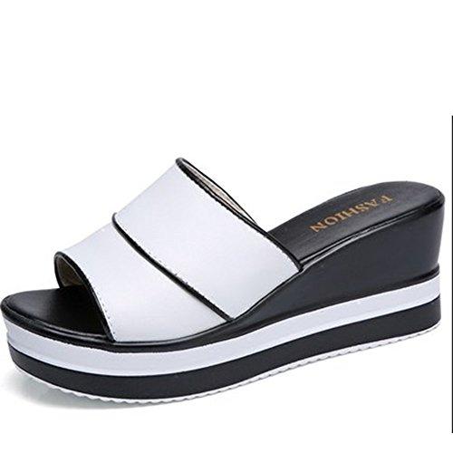 Pendenza con i pistoni Femmina femminile dei pistoni freddi del cuoio della muffin di estate Pattini di modo fuori dai sandali spessi (2 colori facoltativi) (formato facoltativo) ( Colore : A , dimens A