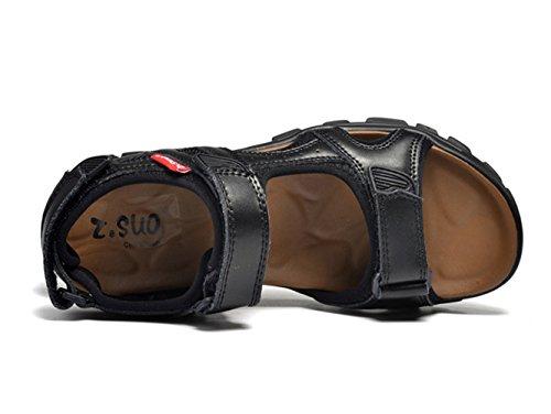 Herren Leder Klettverschluss Sandalen Sport Outdoor Sandaletten Fitnessschuhe Schwarz