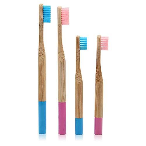 Sonifox Natur-Zahnbürsten aus Bambus/Holz, wiederverwendbar, für die gesamte Familie, 4 Stk.
