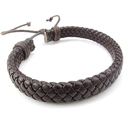 mendino pulsera hecho a mano tejido de cuerda de cinta de pulsera ajustable de piel para hombre color marrón