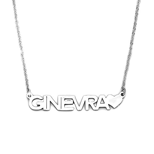 Beloved ❤️ Collana donna girocollo con nome in acciaio GINEVRA - lunghezza regolabile - anallergica - ciondolo donna, color argento