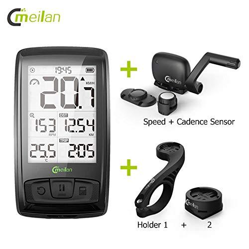 """Bicicleta Ordenador Bluetooth Bicicleta Velocímetro 2.5 """"Pantalla LED Velocidad inalámbrica + Sensor de cadencia Conexión Soporte Monitor de ritmo cardíaco (no incluido)"""