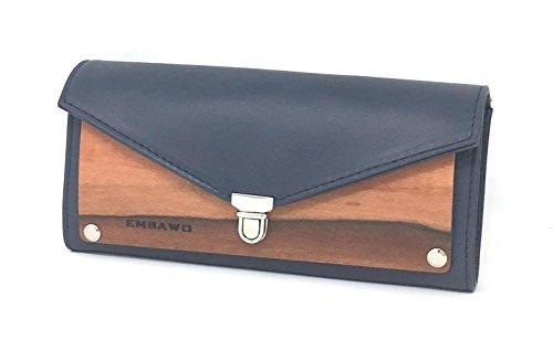 EMBAWO Geldbörse Damen LALLO aus echtem italienischem Leder in Blauer Farbe und echtem indischem Apfelholz - kleine Geldtasche Handtasche - Handgemachte Qualität Made in Südtirol