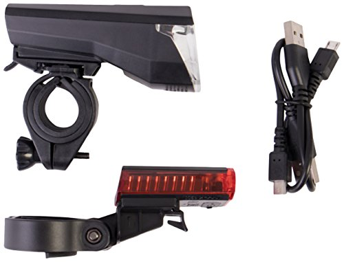 Gregster LED Fahrradbeleuchtung, Fahrradlampen Set mit Frontlicht, Rücklicht, USB Ladekabel und Halterung - helles Fahrradlicht für beste Sicht