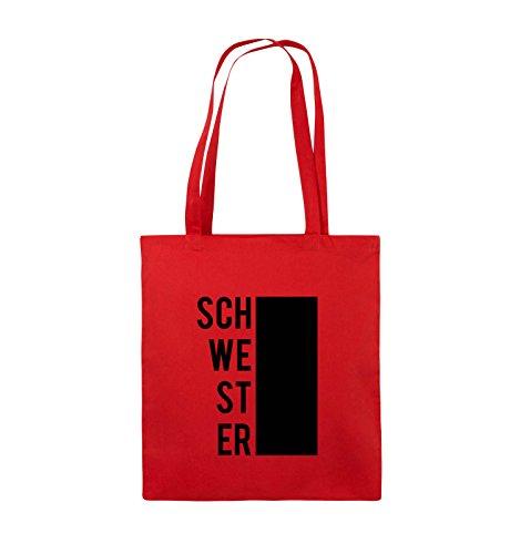 Comedy Bags - SCHWESTER - BLOCK - Jutebeutel - lange Henkel - 38x42cm - Farbe: Schwarz / Silber Rot / Schwarz