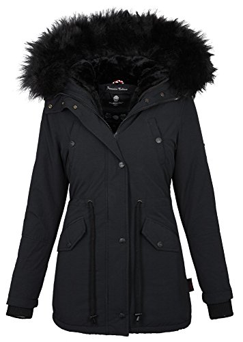 WOW 16in1 Jacke Marikoo Damen Winter Jacke Parka Mantel Fell Winterjacke B370 [B370-Schwarz-Gr.XXL]