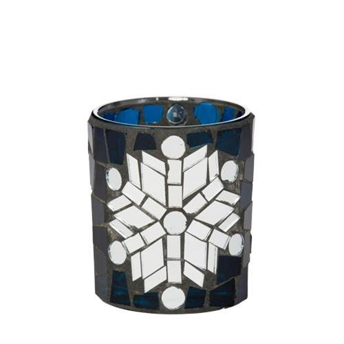Yankee Candle 1521445Winter Glimmer Vh Glass Votive Candle Holder, Blue, Silver, 7x 7x 8cm