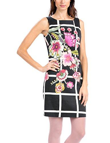 Desigual Flower Square - Robe - Trapèze - Imprimé - Sans manche - Femme Noir (Negro)