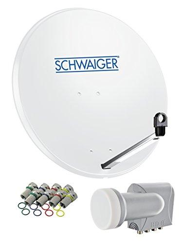 SCHWAIGER 500- Sat Anlage, Satellitenschüssel mit Quad LNB (digital) & 8 F-Steckern 7 mm, Sat Antenne aus Stahl, Hellgrau, 75 x 85 cm