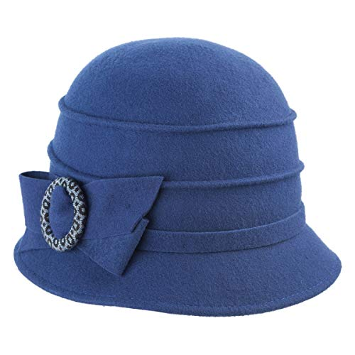 Faustmann 20er Jahre Glocke Wollfilz mit Schleifenringgarnitur Farbe Blau, Größe OneSize -